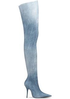 Balenciaga 110mm Knife Denim Thigh High Boots