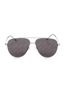 Balenciaga 59MM Silvertone Aviator Sunglasses
