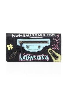 Balenciaga All Over Graffiti Flap Leather Wallet