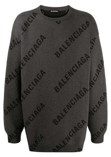 Balenciaga all-over logo print knitted jumper