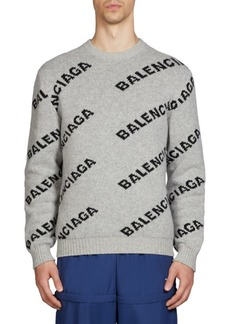 Balenciaga All Over Logo Wool-Blend Sweater