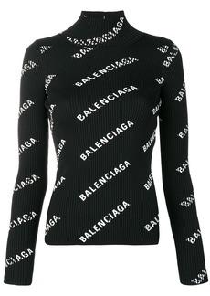 Balenciaga alllover logo open back sweater