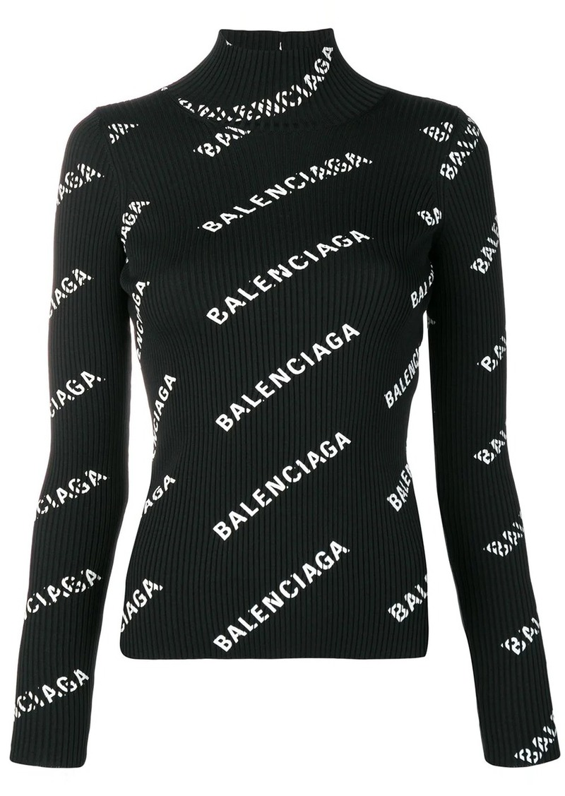 Balenciaga alllover logo open back sweater