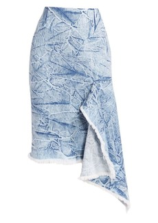 Balenciaga Asymmetric Acid Wash Jean Skirt