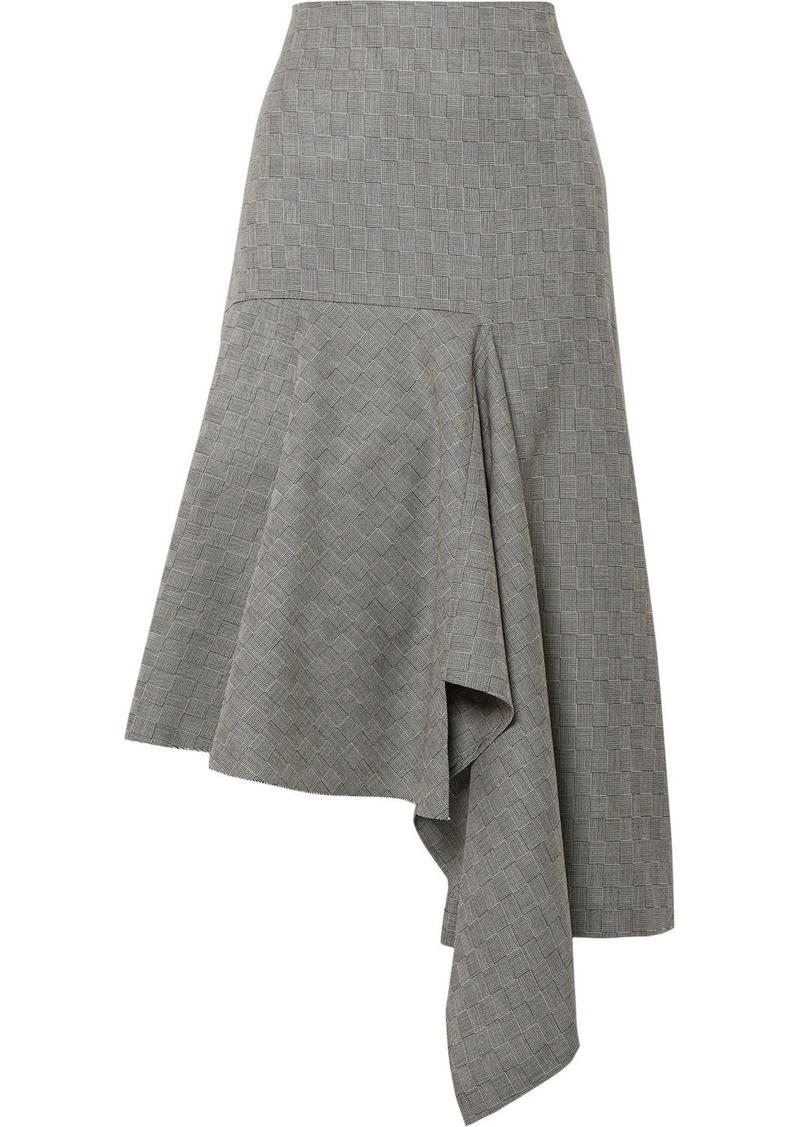 Balenciaga Asymmetric Checked Wool-jacquard Midi Skirt