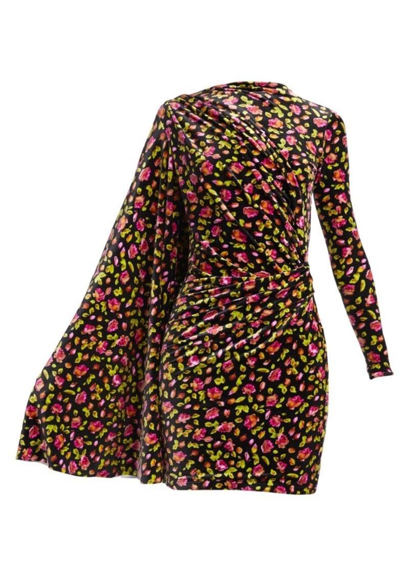 Balenciaga Asymmetric Floral Velvet Drape Dress