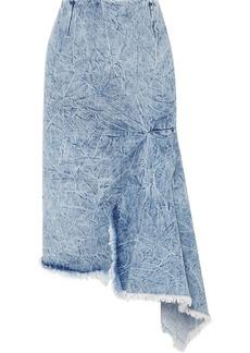 Balenciaga Asymmetric Frayed Denim Skirt