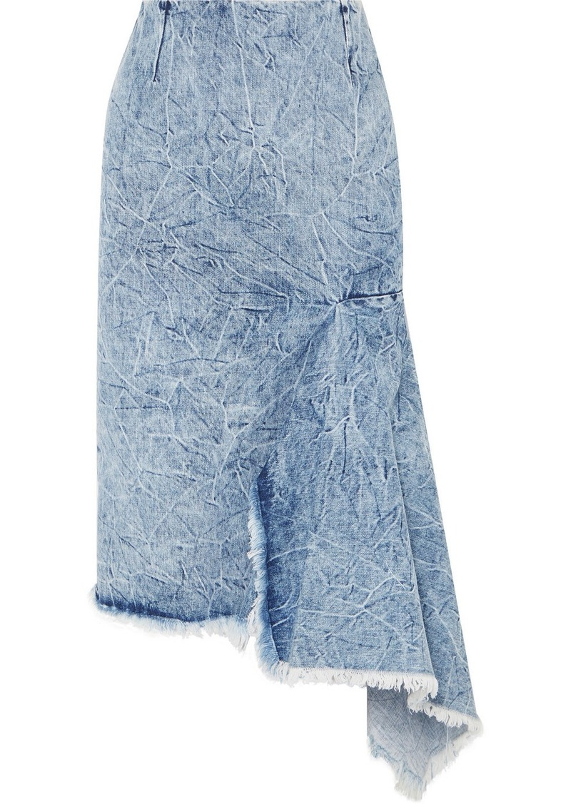 Balenciaga Asymmetric Frayed Denim Skirt