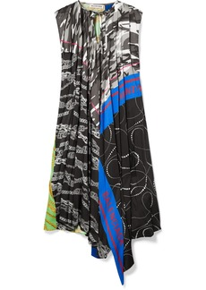 Balenciaga Asymmetric Paneled Printed Twill Dress