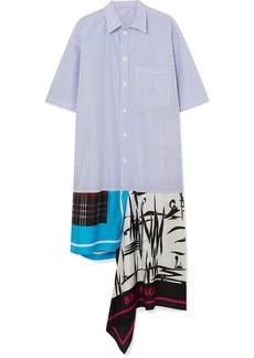 Balenciaga Asymmetric Patchwork Cotton-poplin And Silk-twill Dress