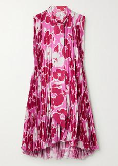 Balenciaga Asymmetric Pleated Floral-print Satin Mini Dress