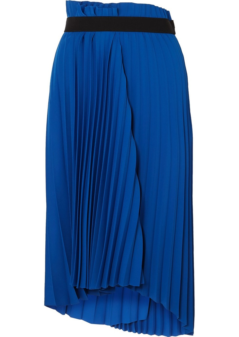 Balenciaga Asymmetric Pleated Midi Crepe Skirt