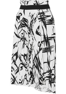 Balenciaga Asymmetric Pleated Printed Cady Midi Skirt