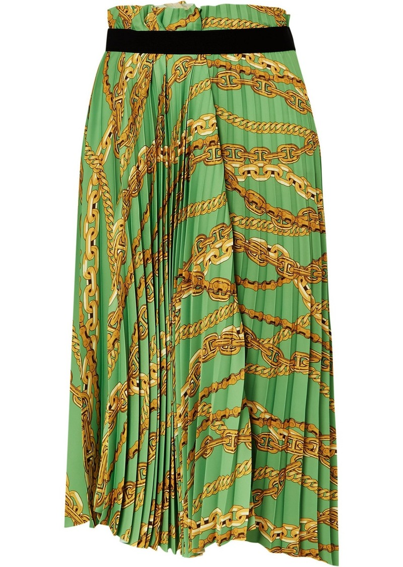 Balenciaga Asymmetric Pleated Printed Crepe Midi Skirt