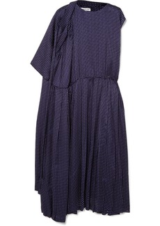 Balenciaga Asymmetric Polka-dot Silk-jacquard Midi Dress