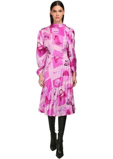 Balenciaga Asymmetric Printed Crepe Dress