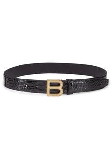 Balenciaga B Crocodile-Embossed Leather Belt