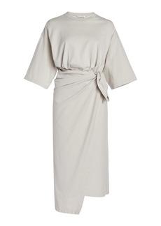 Balenciaga - Women's Cotton Jersey Wrap-Effect Midi T-Shirt Dress - Grey - Moda Operandi