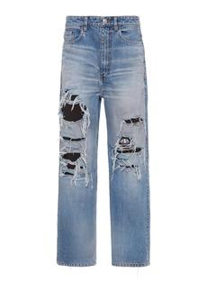 Balenciaga - Women's Distressed Organic High-Rise Straight-Leg Jeans - Light Wash - Moda Operandi