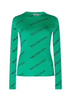 Balenciaga - Women's Printed Ribbed Stretch-Jersey Top - Green - Moda Operandi