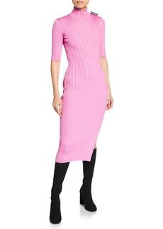 Balenciaga 1/2-Sleeve High-Neck Dress