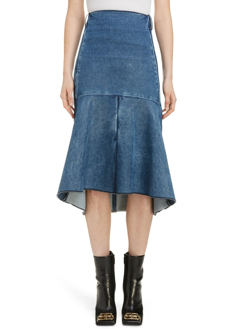 Balenciaga 3D Molded Flare Hem Denim Midi Skirt