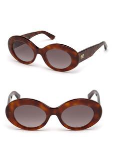 Balenciaga 51MM Oval Acetate Havana Sunglasses