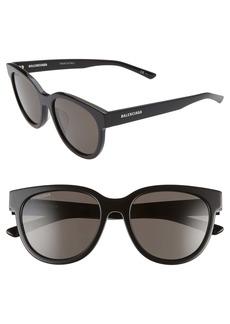 Balenciaga 54mm Polarized Round Cat Eye Sunglasses
