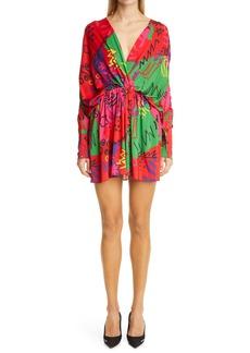 Balenciaga '80s Print Long Sleeve Jersey Faux Wrap Minidress