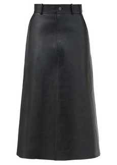Balenciaga A-line leather midi skirt