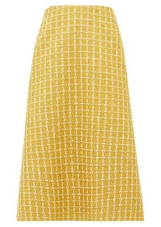 Balenciaga A-line wool-blend lamé-tweed skirt