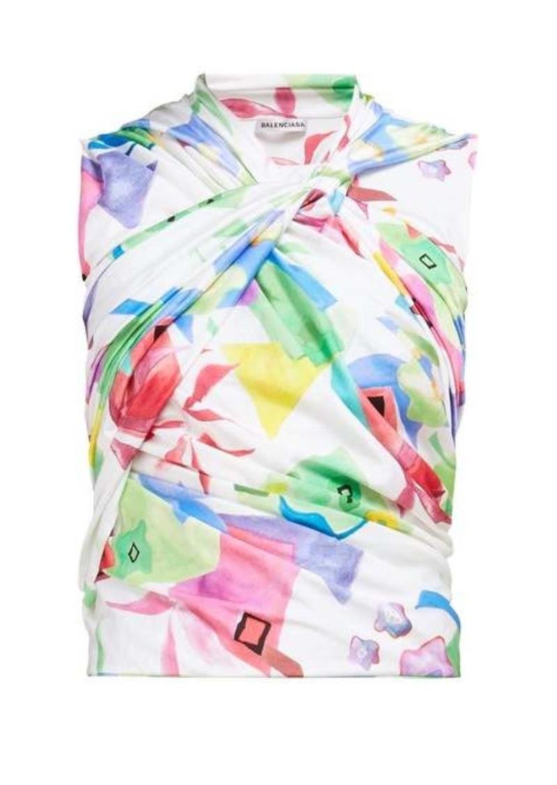 Balenciaga Abstract-print draped top