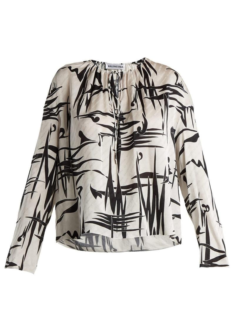 e8dfe49c1e791 Balenciaga Balenciaga Abstract-print logo jacquard silk blouse