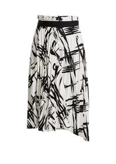 Balenciaga Abstract-print pleated midi skirt