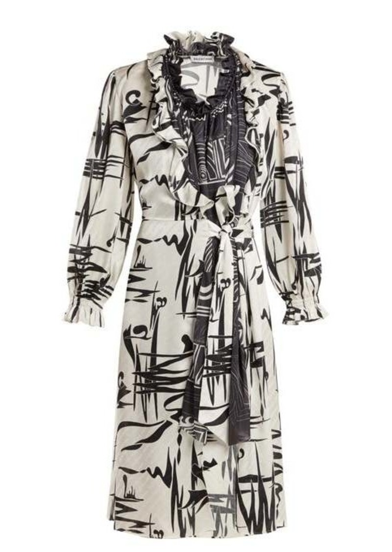 Balenciaga Abstract-print silk dress