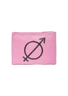 Balenciaga All Gender printed crackled-leather pouch