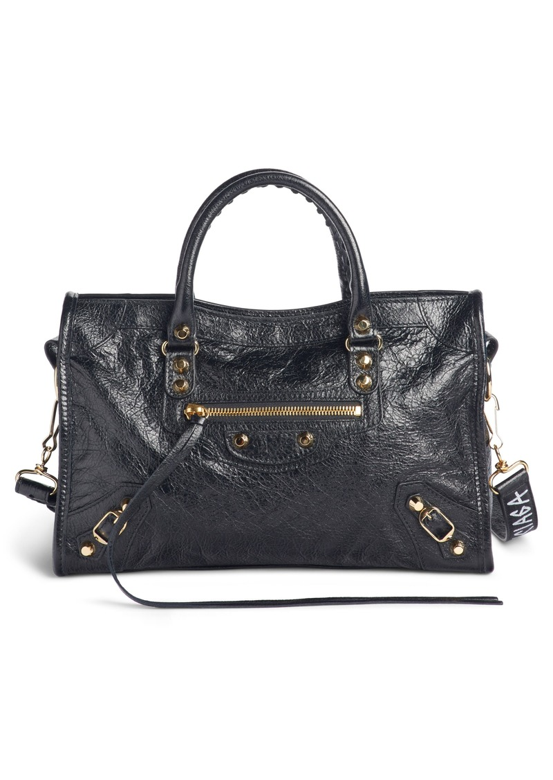 Balenciaga Arena Classic City Leather Tote with Graffiti Strap