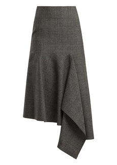 Balenciaga Asymmetric checked virgin-wool skirt