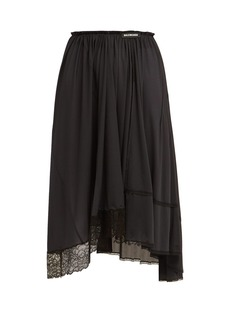 Balenciaga Asymmetric lace-trimmed jersey midi skirt