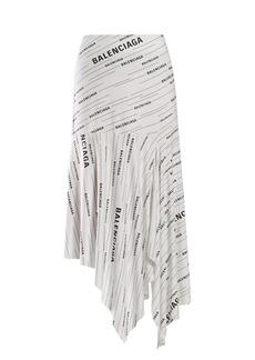 Balenciaga Asymmetric logo-print crepe skirt