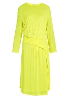 Balenciaga Asymmetric-peplum jersey midi dress