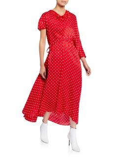 Balenciaga Asymmetric Polka-Dot Jacquard Dress
