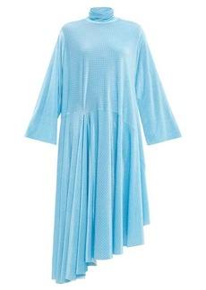 Balenciaga Asymmetric polka-dot velvet maxi dress