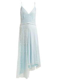 Balenciaga Asymmetric tie-waist lace slip dress
