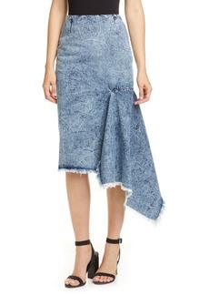 Balenciaga Asymmetrical Godet Acid Wash Denim Skirt