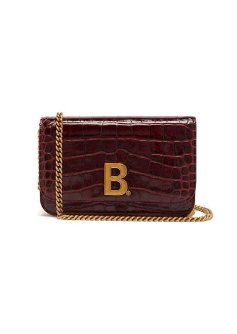 Balenciaga B. mini crocodile-effect leather cross-body bag