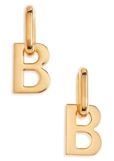 Balenciaga B Pendant Hoop Earrings