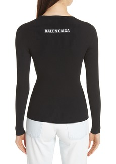 Balenciaga Back Logo Ribbed Sweater