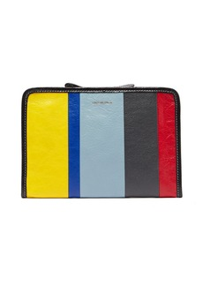Balenciaga Bazar mini striped leather pouch