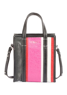 Balenciaga Bazar Shopper Extra Small Striped Leather Tote Bag